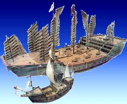 Columbus's caravel compared to a contemporary warship of the Ming Empire